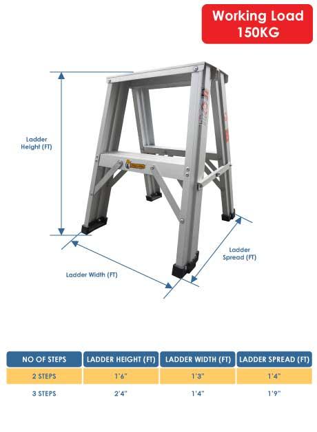 Aluminium Double Sided A Shape Step Stool Ladder 3 Steps (DSL03)