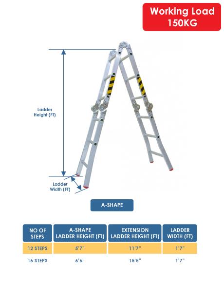 Aluminium Multi-Purpose Ladder 16 Steps (WMP-16)