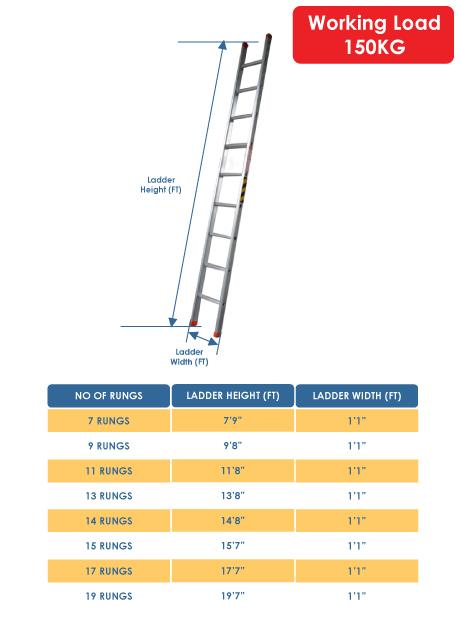 Aluminium Single Pole Ladder – 11 Rungs (WSP-12)