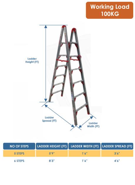 Aluminium Double Sided Folding Step Ladder 6 Steps (FDL-DAS06)