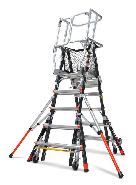 Fiberglass Adjustable Safety Cage Ladder 9 Steps (18509-243)
