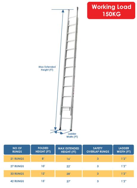 Aluminium Triple Extension Ladder – 42 Rungs (P-DEL315)