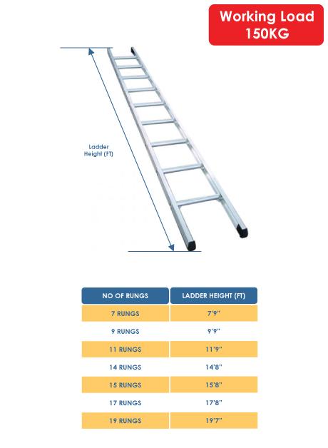 Aluminium Single Pole Ladder – 9 Rungs (ES10DR)
