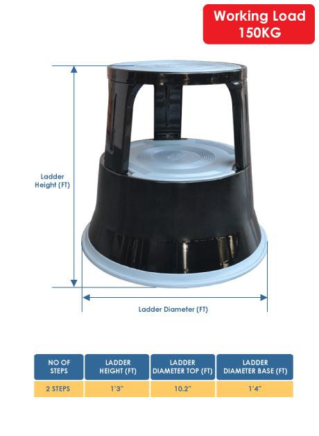 Steel Kick Step Stool Ladder Black Colour 2 Steps (KSSL02)