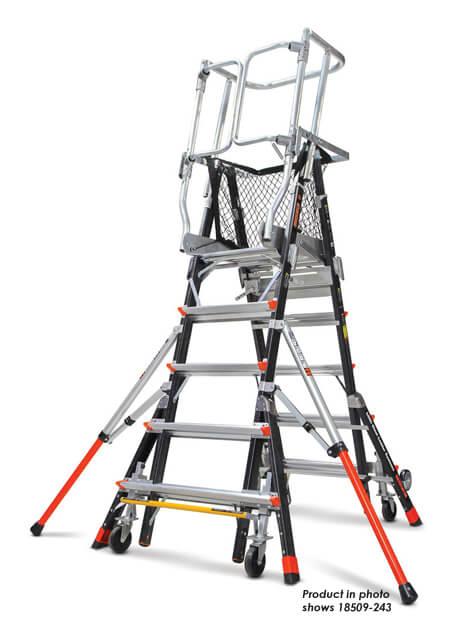 Fiberglass Adjustable Safety Cage Ladder 14 Steps (18515-243)